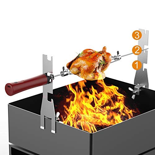 Alritz Automatic BBQ Rotisserie Kit, Battery Powered Roasting Sticks Smart Rotating Skewers for Grilling Marshmallow, Hot Dog, Chicken, Steak