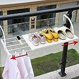 HyFanStr Tendedero extensible para radiador de ropa, toallero para puerta con brazos móviles, para colgar en la pared, estante para balcón, ventana (longitud: 50 – 80 cm, ancho: 35 cm, blanco)
