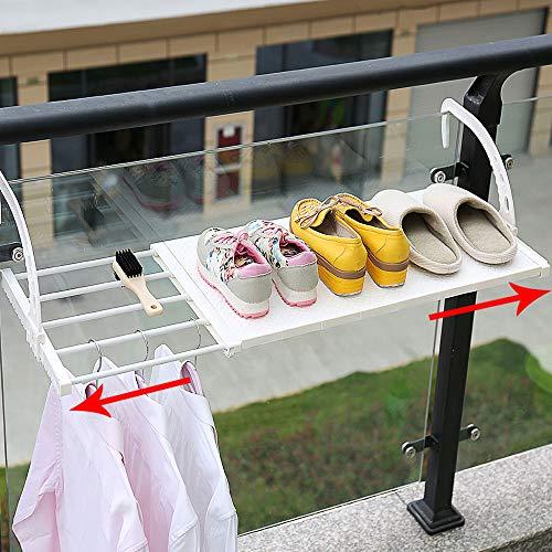 HyFanStr Ausziehbar Heizkörpertrockner für Handtücher, Bad Wäschetrockner Balkon Hängetrockner Balkonwäschetrockner für Fensterbrett den Innen und Außenbereich(Länge: 75-120 cm, Breite: 35 cm, weiß)
