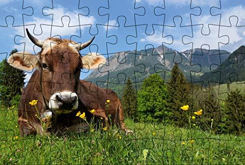 Puzzle-Postkarte Allgäu (Kultur erleben im GMEINER-Verlag): Motiv: Kuh auf Wiese