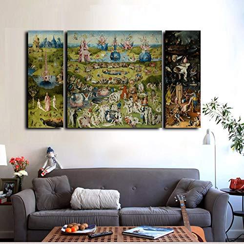 Cuadro En Lienzo Impresión En Lienzo 3 Piezas Impresiones En Lienzo Arte De La Pared Pintura Famosa El Jardín De Las Delicias Impresiones En Lienzo Decoración Para El Hogar 25X70Cmx2 70X70Cm Pt5843