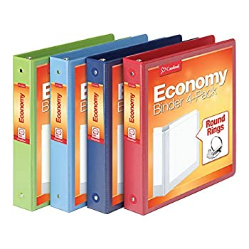 Cardinal 3 Ring Binders 1.5 Inch Round Rings Holds 350 Sheets ClearVue Presentation View Non-Stick Assorted Colors 4 Pack  79550