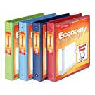 Cardinal 3 Ring Binders, 1.5 Inch, Round Rings, Holds 350 Sheets, ClearVue Presentation View, Non-Stick, Assorted Colors, 4 Pack (79550)