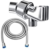 Mimorou 79 Inch Stainless Steel Shower Hose with Adjustable Shower Arm Holder Shower Head Holder Replacement Shower Hose Head Holder for Wall Adjustable Shower Head Replacement (Silver Holder)