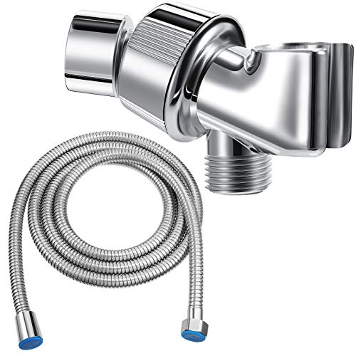 Mimorou Shower Arm Holder with 79 Inch Shower Hose Shower Head Holder Replacement Adjustable Stainless Steel Shower Hose Head Holder for Wall Adjustable Shower Head Replacement