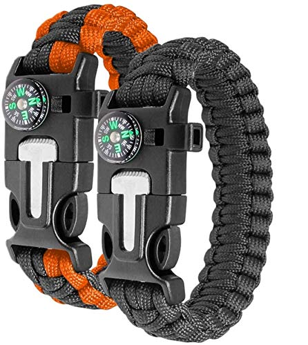 Ember Rock Paracord Survival Bracelet - 2 Pack Survival Kit Firestarter Bracelets - Includes Compass, Firesteel, Whistle and Parachute Cord