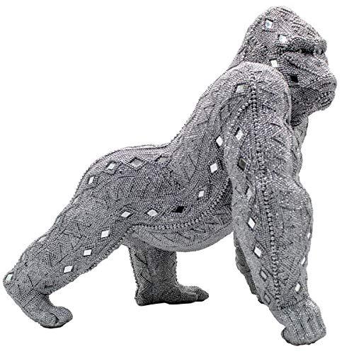 Figura Decorativa de Resina Orangután Plata con Espejos. Adornos y Esculturas. Animales. Decoración Hogar. Regalos Originales. 35 x 26,50 x 33,50 cm.