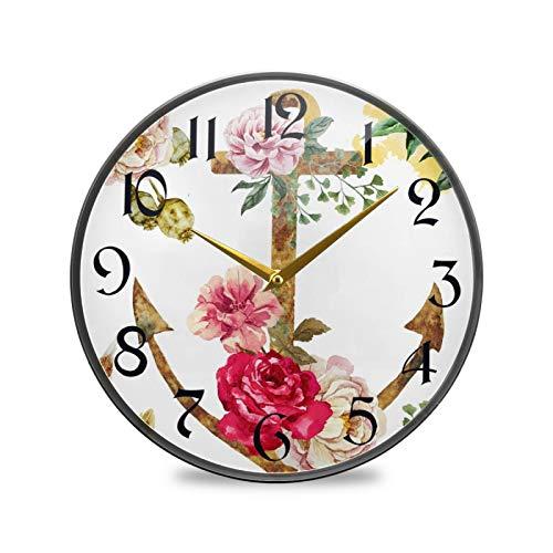 ART VVIES Reloj de Pared Redondo de 9,5 Pulgadas Que no Hace tictac silencioso Funciona con Pilas Oficina Cocina Dormitorio decoración del hogar-Ancla y Flor