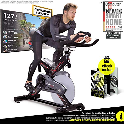 Sportstech professional Indoor Cycling SX400 with smartphone app control, 22KG flywheel, arm support, pulse belt compatible – Speedbike in studio quality -with Kinomap &eBook incl. (SX400_Black)