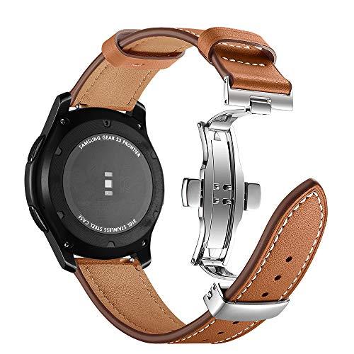 Myada Kompatibel mit Armband Gear S3 Frontier Leder,Armband für Samsung Galaxy Watch 46mm Lederarmband Smartwatch Armband 22mm Armbänder Gear S3 Classic Leder Ersatzband Galaxy Watch Sportarmband