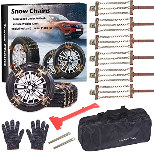 Tire Chains, Snow Chains for suvs, Cars, Sedan, Family Automobiles,Trucks with Update Adjustable Lock for Ice, Snow,Mud,Sand,Applicable Tire Width 215-315mm/8.5-12.4in (6 PCS) (Three Style)