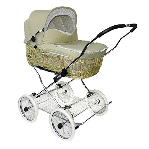 Eichhorn SEN-WN-K045-RF-EVA - Cochecito de mimbre con correa de piel, cesta de mimbre natural, rueda EVA y tela beige