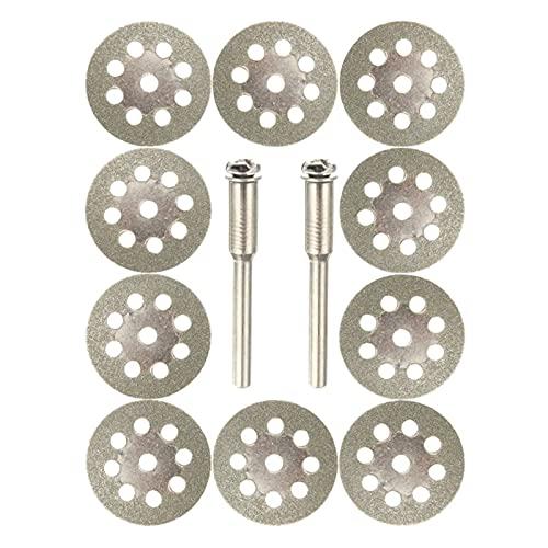 Rueda de corte de diamante de alto rendimiento y d 10 unids Cuchillas de sierra circular Discos de rueda de corte + 2pcs Mandrels Conjunto Herramienta rotativa Accesorios de taladro de acero al carbon