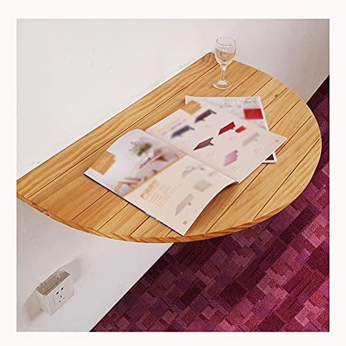 Mesa plegable de madera, mesa montada en la pared semirredonda, escritorio de pared simple, construcción robusta y estable, mesa de pared plegable, mesas de hojas abatibles para espacios pequeños