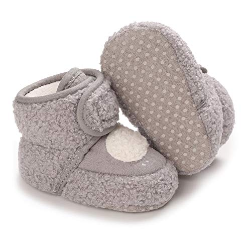 Meckior Newborn Infant Baby Girls Boys Warm Fleece Winter Booties First Walkers Slippers Shoes D/Gray