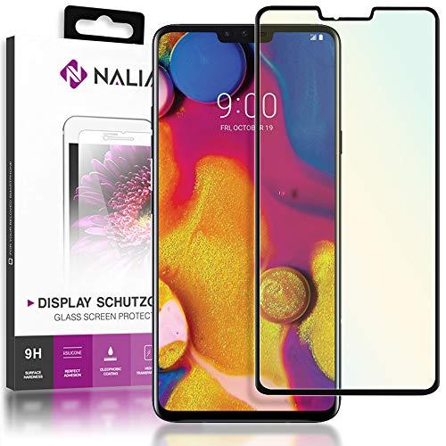 NALIA Schutzglas kompatibel mit LG V40 ThinQ, 9H Full-Cover Bildschirm Schutz Glas-Folie, Dünne Handy Schutzfolie Display-Abdeckung, Schutz-Film Clear HD Screen Protector - Transparent (schwarz)