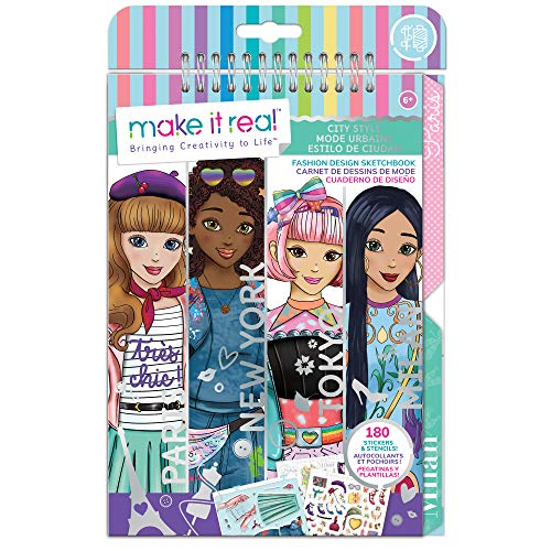 Make It Real – Fashion Design Sketchbook: City Style - Inspirational Fashion Design Coloring Book for Girls - Includes Sketchbook, Stencils, Stickers, and Fashion Design Guide
