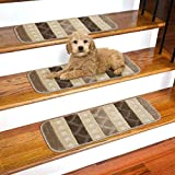Ottomanson SST1078-9X26 Softy Striped Carpet Stair Treads, 9' x 26', Brown