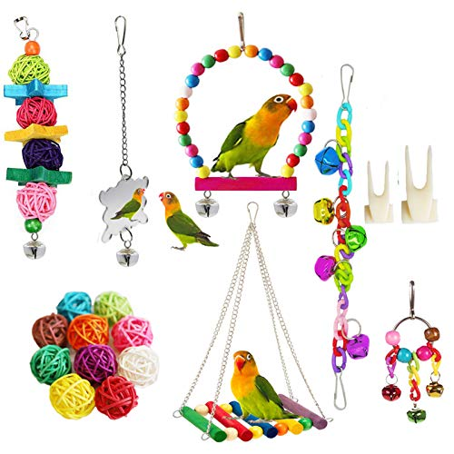 ESRISE Bird Parrot Toys, Natural Wood Hanging Bell Pet Bird Cage Hammock Swing Climbing Ladders Wooden Perch Mirror Chewing Toy for Conures, Love Birds, Small Parakeets Cockatiels, Macaws