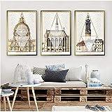 KK Timo Pintura de porcelana de cristal para restaurante de arquitectura europea, de lujo, retro, geométrico, marco dorado, para hotel, hogar, sala de estar, decoración de pared, 3 piezas/set