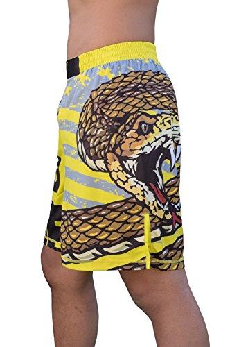 "Don't Tread on Me! MMA Wrestling Jiu-Jitsu Training Fight Shorts - Youths & Mens (Adult XL: Waist 36""-38"") Yellow and Black"