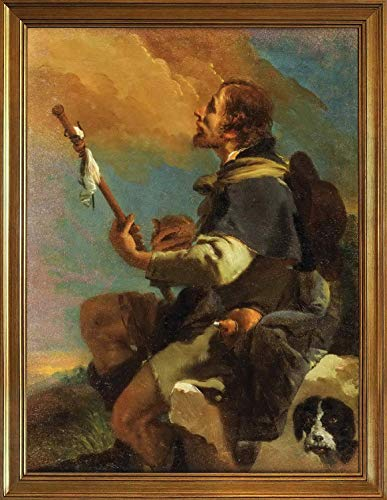 Home Decor Kitchen Living Room Wall Art 12x16inches,Classic Giovanni Battista Tiepolo Canvas Print Paintings Poster Home Decor Reproduction(Saint Roch)