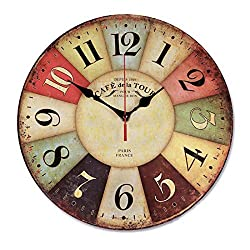 Retro Wooden Wall Clock Farmhouse Decor, Silent Non Ticking Wall Clocks Large Decorative - Quality Quartz Battery Operated - Antique Vintage Rustic Colorful Tuscan Country Style (16inch)