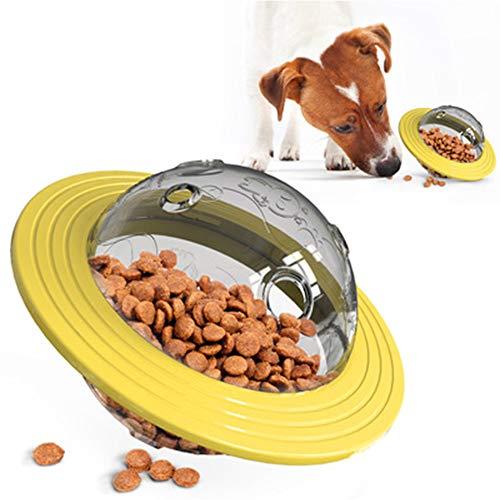 JWShang hond behandelen bal speelgoed, IQ interactieve hond puzzel speelgoed, UFO voedsel verspreiden trage Feeder hond frisbee speelgoed, Geel