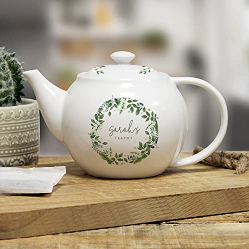 Tetera floral totalmente personalizable, 710 ml, cerámica blanca, regalo de nombre personalizado para mamá de niños