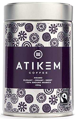 ATIKEM Caffè macinato biologico, caffè etiope Sidamo cremoso medio torrefatto, caffè Arabica Premium certificato Fairtrade biologico, barattolo da 250 g