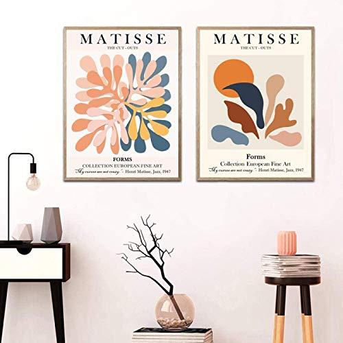 YHJJ Poster Bild Henri Matisse Ausstellung Poster Kreativ Ausgeschnitten Gemälde Galerie Bilder Wohnzimmer Dekor2 Stück 50x70cm ohne Rahmen