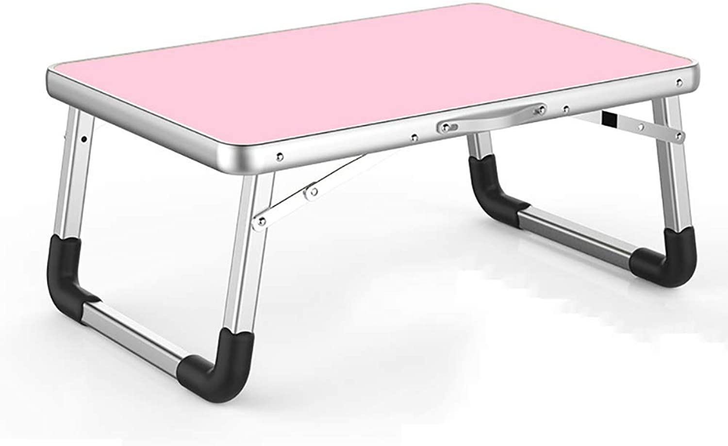 LiTing-Folding Table Laptop Desk Bed with Desk Folding Table Small Table Lazy Table Student Dormitory Study Table (color   Pink)