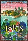 Jessgirl Cartel de metal vintage Paris By Air France Travel Retro Cartel de estaño, decoración de pared para cocina, bar, pub, casa de granja 30,5 x 20,3 cm