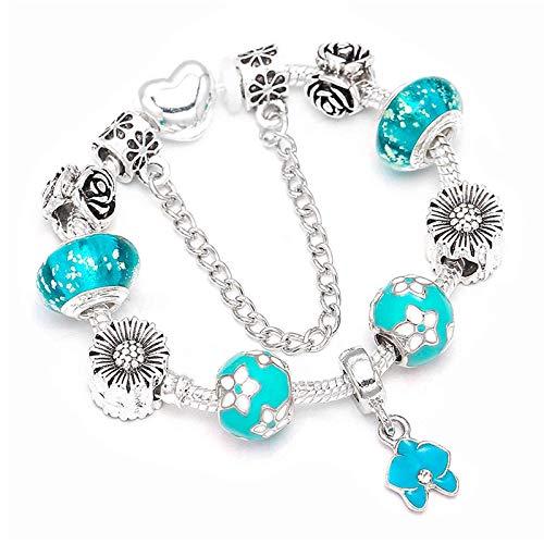 Estilo europeo plateado encanto pulseras con orquídea perlas colgantes para las mujeres pulsera joyería regalo C01 17cm