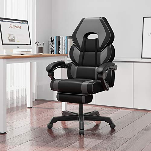 HWIN Gaming Chair with Footrest,Ergonomic Office Chair with Arms Reclining Executive Computer Desk Chair with Back and Lumbar Support Comfy PC Swivel Chair (Grey)