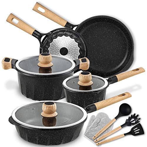 Cookware Set Nonstick 100% PFOA Free Induction Pots and Pans Set with Cooking Utensil 13 Piece –...