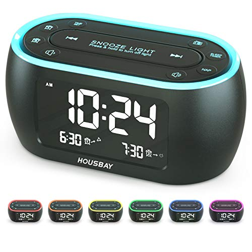 Housbay Glow Small Alarm Clock Radio for Bedrooms with 7 Color Night Light, Dual Alarm, Dimmer, USB Charger, Battery Backup, Nap Timer, FM Radio with Auto-Off Timer for Bedside