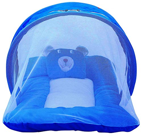 Nagar International Baby's Polyester Soft Mattress with Mosquito Net (Blue)