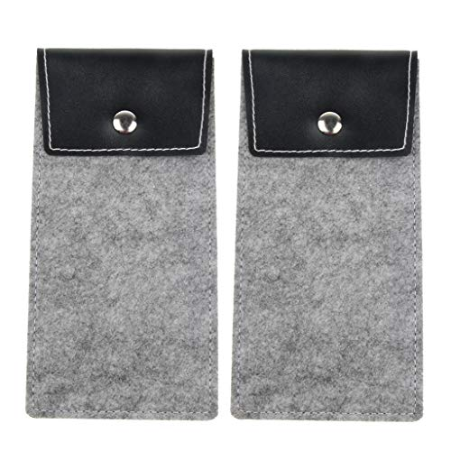 P Prettyia Pack of 2 Portable Lightweight Spectacle Sunglasses Pouch Cases Storage Bag Grey 185x9x05cm