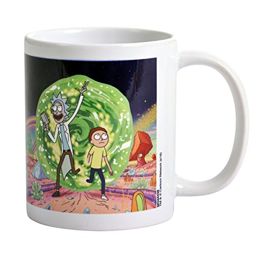 Rick and Morty Kaffeebecher Portal weiß