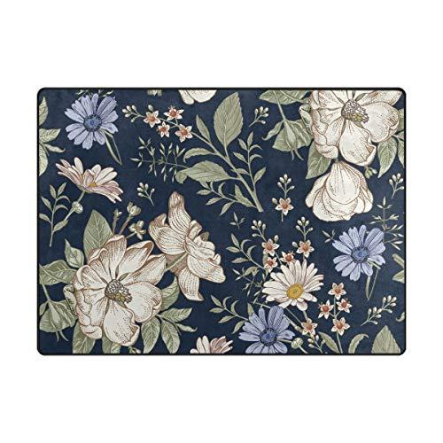 Orediy Große Schaumstoff-Teppich, Blumenmuster, Vintage-Design, leicht, für Kinder, Yoga-Matte, Kinderzimmer-Teppich für Wohnzimmer, Schlafzimmer, Polyester, multi, 160 x 122 CM