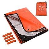 RedSwing Emergency Thermal Blanket, Multipurpose Heavy Duty Reflective Tarp, Survival Space Blanket for All Weather, Orange