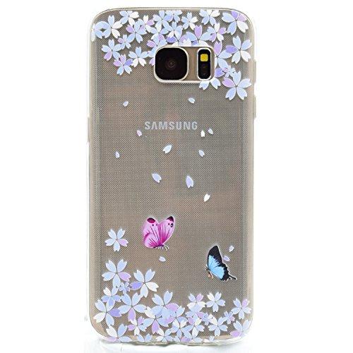 Galaxy S6 Edge Hülle, Funluna Transparent Weiche TPU Silikon Handyhülle Blume und Schmetterling Muster Hülle [Crystal Klar] TPU Bumper Case Schutzhülle für Samsung Galaxy S6 Edge