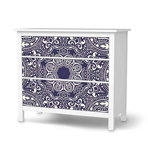 creatisto Klebe-Folie Möbel passend für IKEA Hemnes Kommode 3 Schubladen I Möbelfolie - Möbel-Folie Tattoo Sticker I Schöner Wohnen für Schlafzimmer und Wohnzimmer - Design: Blue Mandala