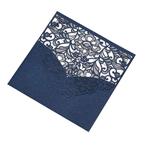 Detrade 10pcs European Openwork Hochzeitseinladung Kreative Geburtstagskarte Einladung Hohl Hochzeit Einladung Geburtstag Grußkarte (Blue)