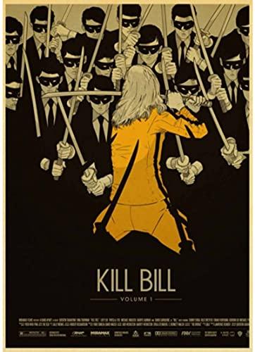 HANJIANGXUE Carteles De Lona De Algodón Película Clásica Kill Bill Carteles Vintage para Decoración Póster Adhesivo De Pared 50 * 70 Cm Durabilidad Fuerte