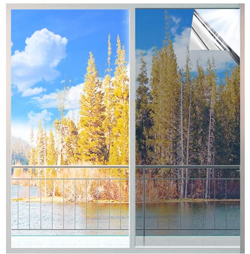 MUHOO 99% UV-Schutz Sonnenschutzfolie Sichtschutz Spiegelfolie Wärmeisolierung Fensterfolie 60 x 200 cm - Silber