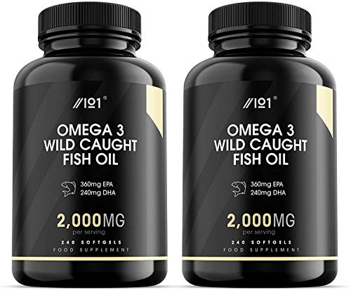 Wild Caught Omega 3 Fish Oil - 2000mg - 360mg EPA 240mg DHA - 240 Softgels - No Additives — Non-GMO, Gluten Free. (2 Pack)