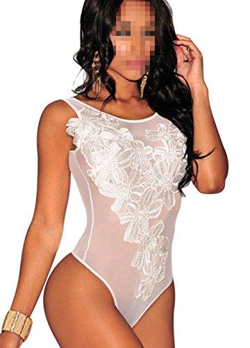 URFEDA Lencería sexy para mujer, con hilo bordado, lencería erótica, ropa de noche, body de una pieza, pijama erótico blanco, S