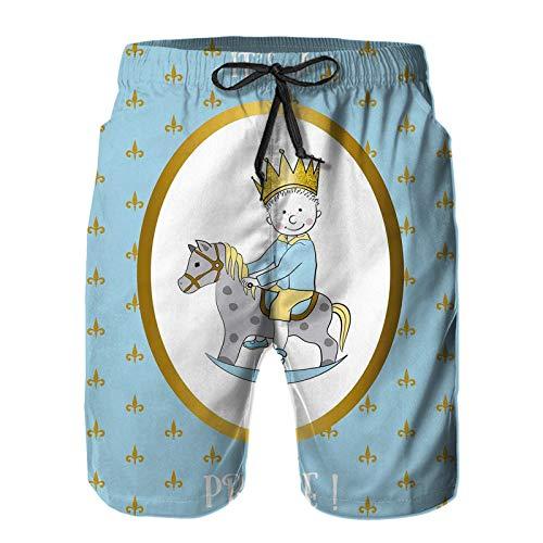 Hombres Verano Secado rápido Pantalones Cortos Playa Es un príncipe Palabras con un niño recién Nacido montado en un Caballo Motivos de Flor de lis Trajes de baño Correr Surf Deportes-S